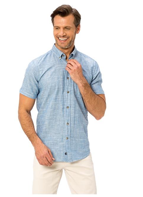 LC Waikiki Kısa Kollu Gömlek Mavi